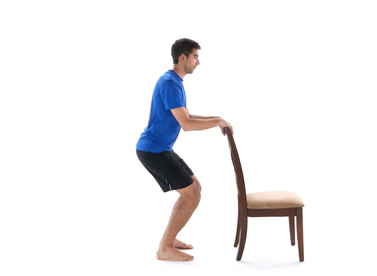 Partial squats using a chair